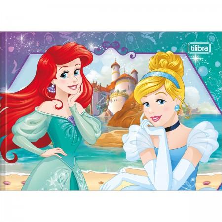 Caderno De Desenho Brochura Capa Dura Princesas 40 Folhas