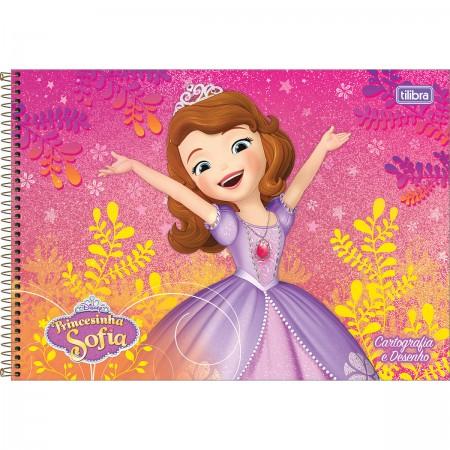 caderno espiral capa dura cartografia e desenho princesinha sofia 96