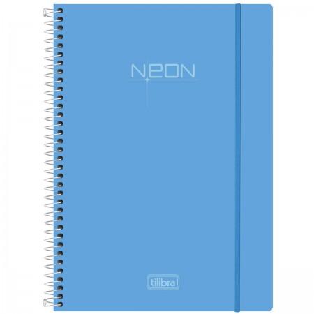 Foto ilustrativa Caderno Espiral Capa Plástica Universitário 10 Matérias  Neon Azul 200 Folhas 7e675a7542819